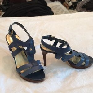Ladies blue high strapped leather shoes